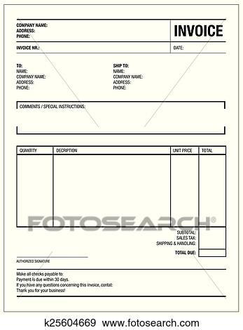 Clip Art Schablone Von Unfill Papier Steuer Rechnung Form