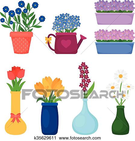 Clipart of spring flowers in pots k35629611 search clip art clipart spring flowers in pots fotosearch search clip art illustration murals mightylinksfo