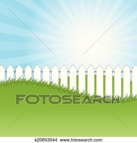 White Fence And Green Grass On Blue Sky Background Clipart