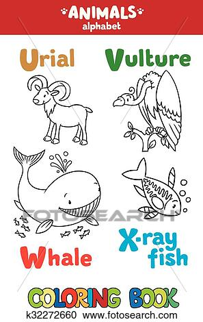Animals alphabet or ABC. Coloring book Clipart | k32272660 ...
