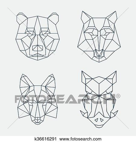 clipart bas poly animals ours et loup renard ou sanglier t tes k36616291. Black Bedroom Furniture Sets. Home Design Ideas
