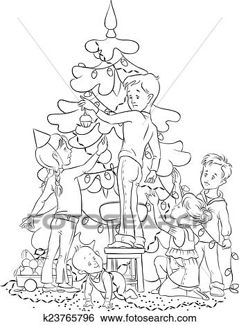 Clip Art Of Children Decorating Christmas Tree K23765796 Search