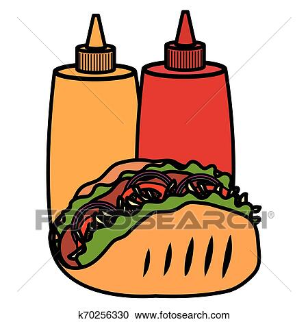Delicious Mexican Taco With Sauces Bottles Clipart K70256330 Fotosearch