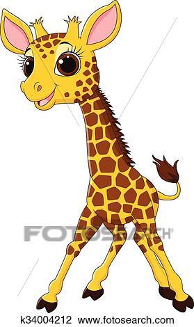 Dessin Girafe Rigolote clipart - dessin animé, rigolote, girafe, mascotte, isolat k34004212