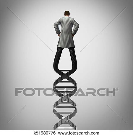 Genetics Doctor And Biotechnology Researcher Or Genetisist Concept As A Scientist Shaped DNA Strand Genome Research Symbol With 3D Illustration