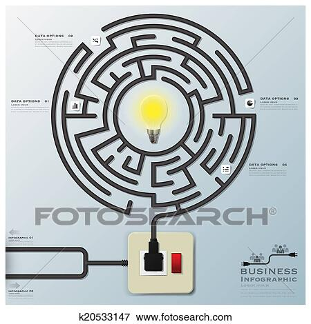 Clip Art Of Maze Light Bulb Electric Wire Line Business Infographic