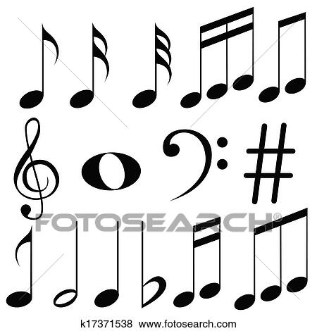 clip art of music notes k17371538 search clipart illustration rh fotosearch com Single Music Notes Music Note Icon Vector