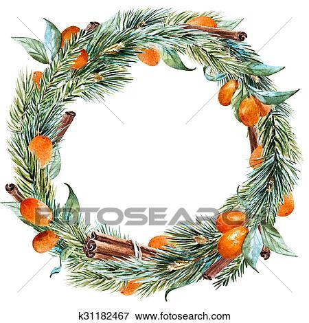 Raster Watercolor Christmas Wreath Stock Illustration K31182467