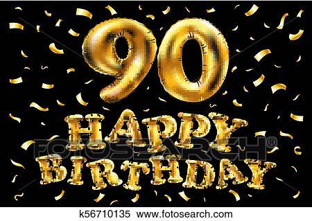 Vector Feliz Cumpleaños 90th Celebración Oro Globos Y