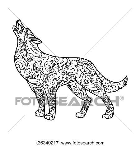 Wolf Ausmalbilder Für Erwachsene Vektor Clip Art