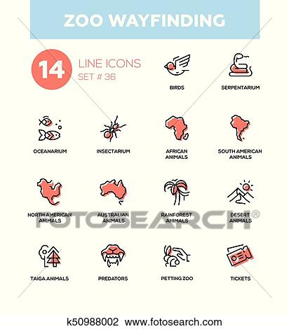 Clipart Of Zoo Wayfinding Modern Vector Single Line Icons Set