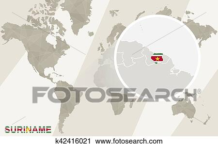 Clipart Of Zoom On Suriname Map And Flag World Map K42416021