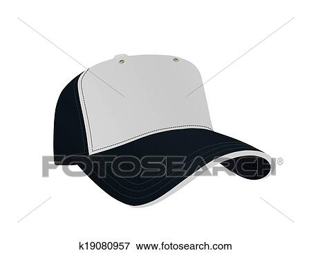 暗い 青 そして 白 野球帽 イラスト K19080957 Fotosearch