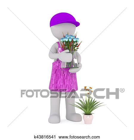 Clipart Of Cartoon Florist Holding Glass Vase Of Blue Roses