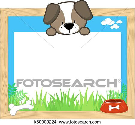 Clipart of cute dog frame k50003224 - Search Clip Art, Illustration ...