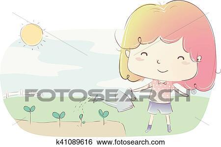 Kid Girl Watering Plants Clip Art k41089616