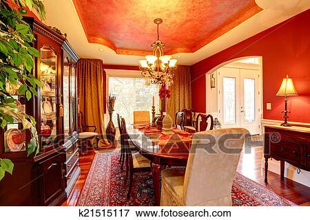Immagine - lusso, sala da pranzo, in, brillante rosso, colori ...