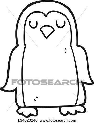 Noir Blanc Dessin Animé Oiseau Clipart