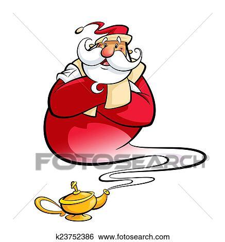 Banque D Illustrations Pere Noel Par Lampe Magique Aide Noel