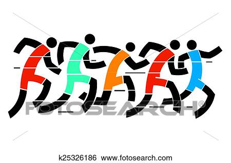 clip art of running race k25326186 search clipart illustration rh fotosearch com