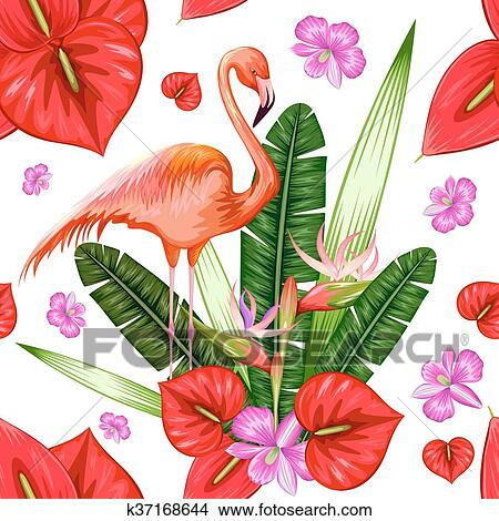 clipart seamless mod le exotique fleur tropicale et flamant rose k37168644. Black Bedroom Furniture Sets. Home Design Ideas
