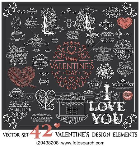 Clip Art Of Set Of Calligraphic Valentines Day Design Elements And