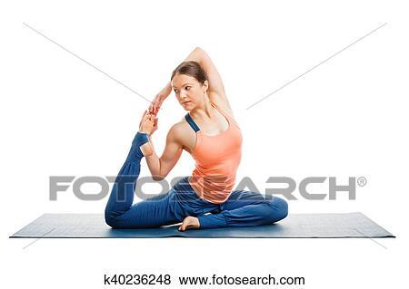 sporty fit woman doing yoga asana eka pada kapotasana