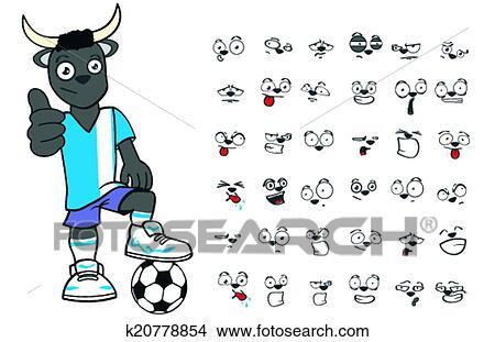 Taureau Gosse Football Dessin Anime Set1 Clipart K20778854