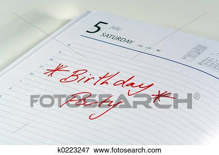 Picture Of Birthday Party Reminder K0223247 Search Stock