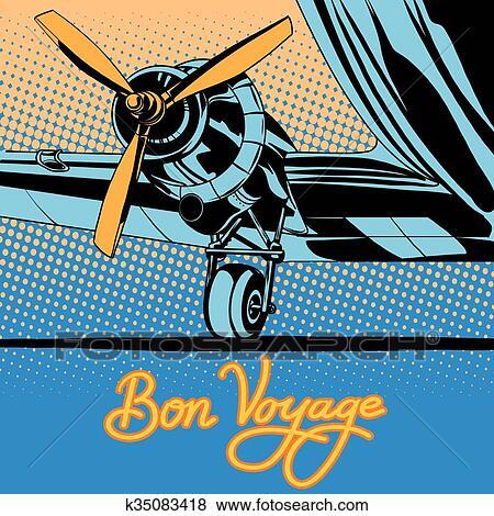 clip art of bon voyage retro travel airplane poster k35083418
