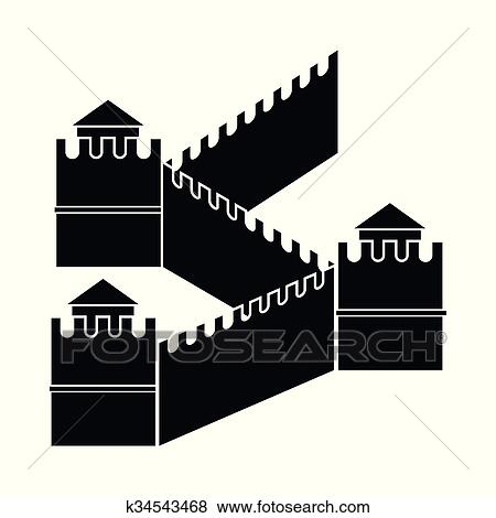 clip art of great wall of china icon simple style k34543468