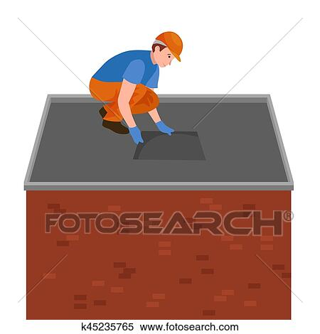 clipart of roof construction worker repair home build structure