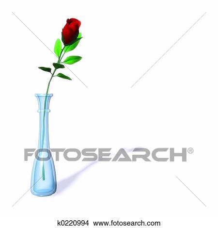 Dessins Rose Rouge Seule Dans A Vase K0220994 Recherche De