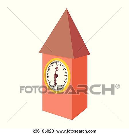 23d2962f46 Clipart - vendimia, de madera, reloj, icono, caricatura, estilo. Fotosearch