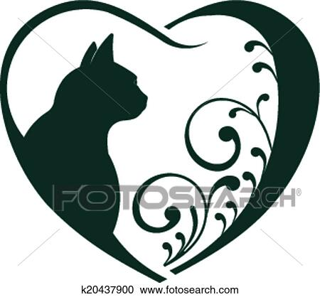 Clipart veterinario cuore gatto love k20437900 for Clipart cuore