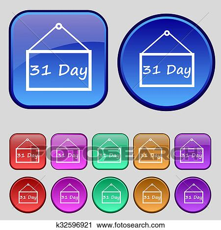 Calendar Days Icon.Calendar Day 31 Days Icon Sign A Set Of Twelve Vintage Buttons For Your Design Stock Image