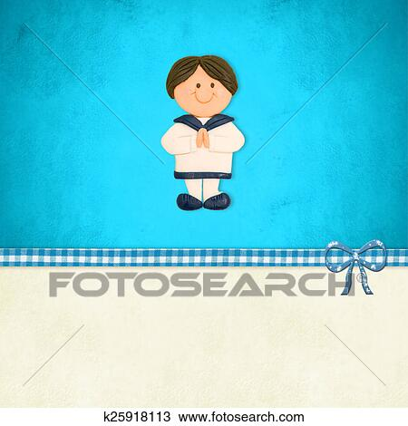 Drawing Of First Communion Invitation Boy Sailor Suit K25918113