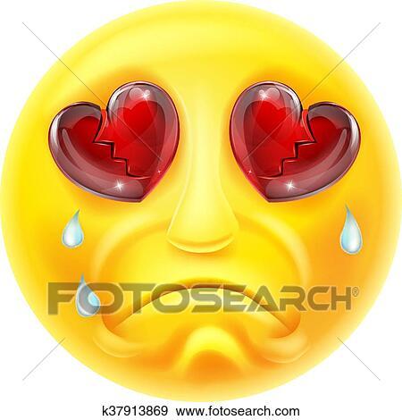 A Cartoon Emoji Emoticon Character Heartbroken And Crying