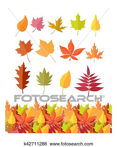 Set Of Tree Leaf Icons Autumn Leaves Isolated Clip Art