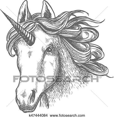 Kleurplaten Paard Met Hoorn Unicorn Or Fairy Tale Animal Head With Horn Clipart