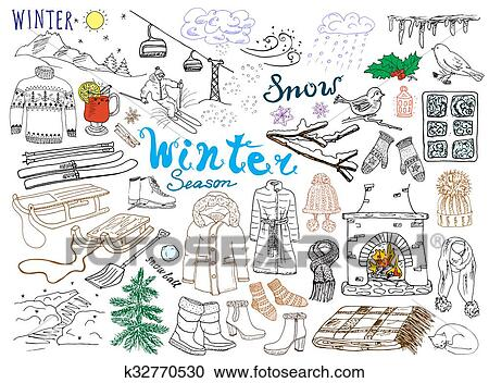 Winter season set doodles elements  Hand drawn set with glass hot wine,  boots, clothes, fireplace, mountains, ski and sladge, warm blanket, socks  and