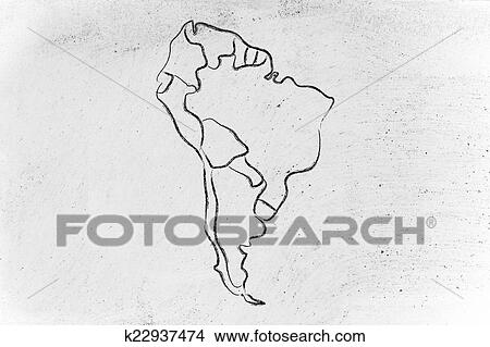 Drawings of world map and continents borders and states of south drawing world map and continents borders and states of south america fotosearch gumiabroncs Image collections