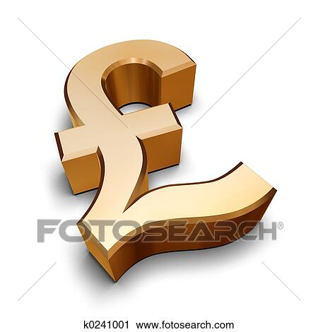 Clipart Of 3d Golden Pound Symbol K0241001 Search Clip Art