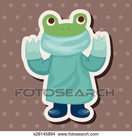 Animale rana dottore cartone animato tema elementi clipart