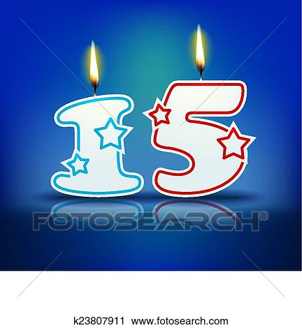 Birthday Candle Number 15 Clipart K23807911