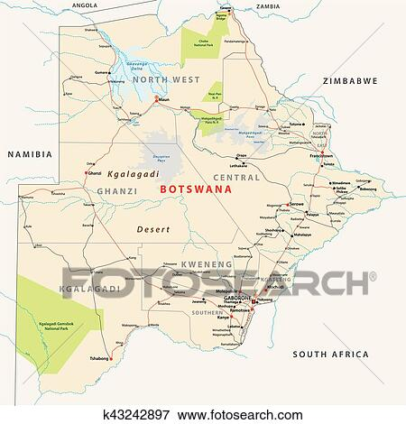 Botswana Political Map.Clip Art Of Botswana Road Administrative And Political Vector Map