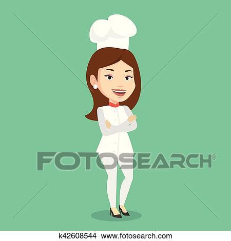 Clipart Confiant Femme Chef Cuisinier à Bras Crossed