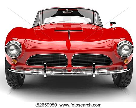 Stock Illustrations Of Fire Red Vintage Sports Car Front View