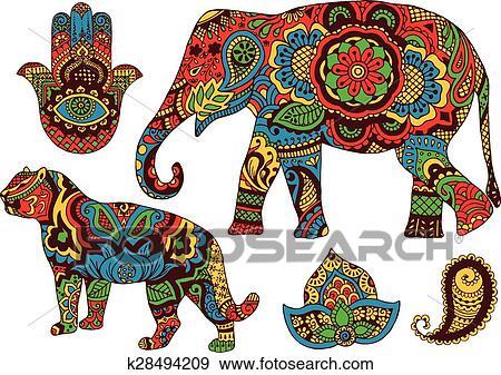 Indische Muster Für Design Clip Art
