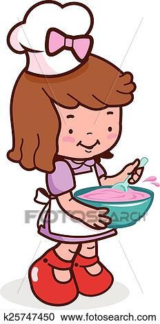 Clipart ni a chef cocina k25747450 buscar clip art - Nina cocinando ...